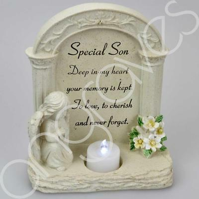 Special Son Praying Angel With Flickering Tealight Graveside Memorial Plaque
