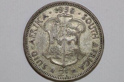 Grades Fine 1958 South Africa 2 Shillings Silver Coin KM #50 (SAFR106)