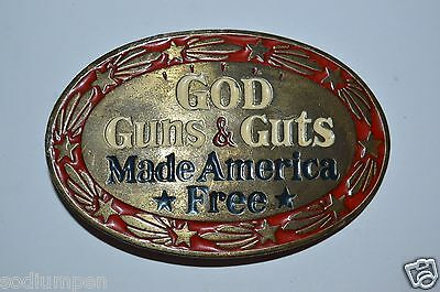 WOW Vintage 1978 Good Guns & Guts Made America Free Solid Belt Buckle Rare