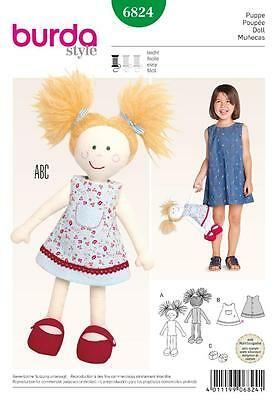 BURDA SEWING PATTERN Cute Little Doll with a Dress & Shoes 6824