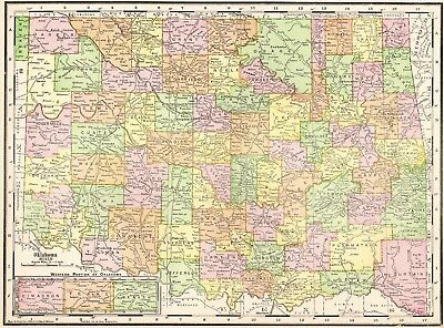 1910 Antique OKLAHOMA State Map Vintage Map of Oklahoma Map Gallery Wall 1512