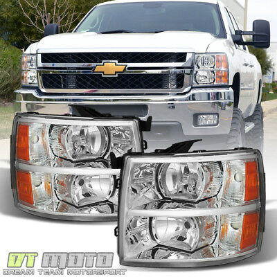2007-2013 Chevy Silverado 1500 2500 3500 Replacement Headlights Headlamps Pair