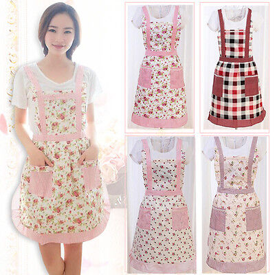 New Floral Pinny Lined Vintage Pocket Fancy Cooking Clothes Chefs Kitchen Aprons