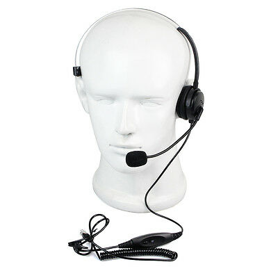 New RJ9 Plug Call Center Monaural Headset MIC Office Phone Earphone+Coiled Cable