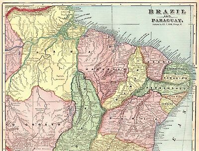 1900 Antique BRAZIL Map PARAGUAY Map COLLECTIBLE Vintage 1900s Atlas Map 1528