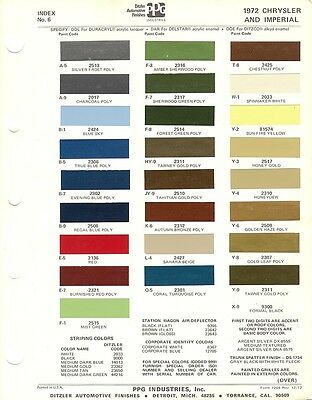 1972 Chrysler And Imperial Paint Chips Sheet (Ppg)