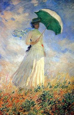 """CLAUDE MONET ~ Woman with parasol right~ *FRAMED* CANVAS ART Poster ~ 16""""X 12"""""""