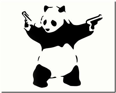"BANKSY STREET ART *FRAMED* CANVAS PRINT Panda Bear guns 24x16"" stencil -"