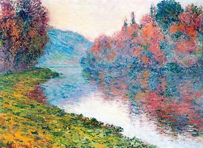 """CLAUDE MONET ~ Banks of the Sienne river~ *FRAMED* CANVAS ART Poster ~ 24x16/"""""""