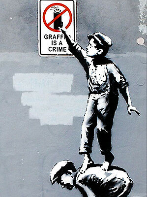 "BANKSY STREET ART *FRAMED* CANVAS PRINT Graffiti is a crime boys 16""X 12"""