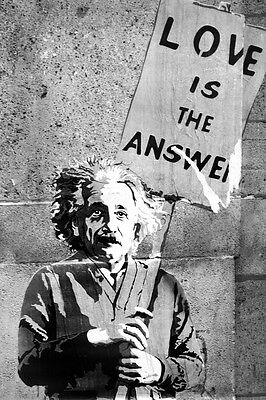 "BANKSY STREET ART *FRAMED* CANVAS PRINT Einstein Love is the Answer 20x16"" -"