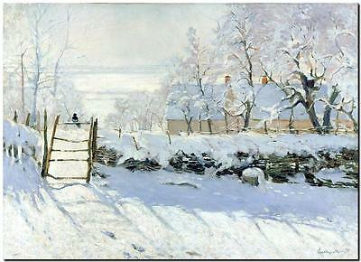 CLAUDE MONET ~ The Magpie in snow  *FRAMED* CANVAS PRINT Poster ~ 24x16""