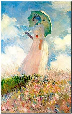 CLAUDE MONET ~ Woman with parasol left ~ *FRAMED* CANVAS ART Poster ~ 24x16""
