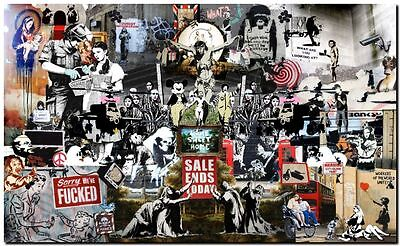 "BANKSY STREET ART *FRAMED* CANVAS PRINT Collage montage  24x16"" stencil - #1"