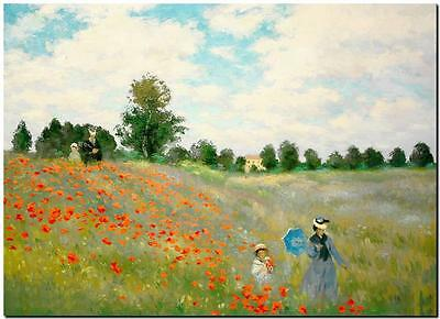 CLAUDE MONET ~ Poppy Fields  *FRAMED* CANVAS PRINT Poster ~ 24x16""