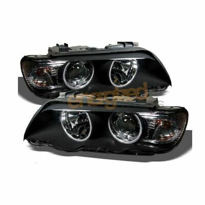 Bmw X5 E53 2000-2003 Black Angel Eye Halo Projector Headlights Headlamps Pair