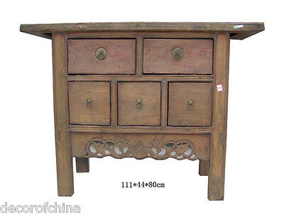 Old Chinese Natural Wood Carved Dresser Chest Table w/5 Drawers Storage B10-07