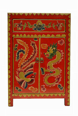Red Chinese Wooden Side End Table Chest with Painted Dragon & Phoenix Feb17-09