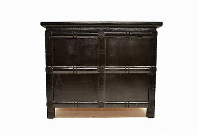 Black Chinese Small Wooden Low Side End Table Cabinet with 4 Doors Jul26-03