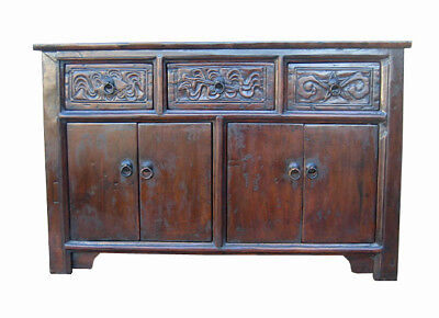 Unique Chinese Old Carved Walnut Cabinet Table DE18-01
