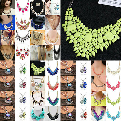Fashion Women's Crystal Bib Pendant Choker Chain Statement Necklace Jewelry Gift