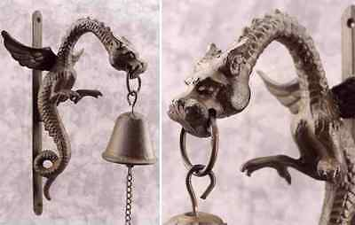 MYTHICAL MEDIEVAL WINGED DRAGON Cast Iron BELL Wall Mount GOTHIC RENAISSANCE