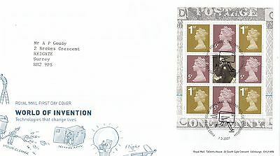 (44990) GB FDC World of Invention Booklet Pane - Tallents 1 March 2007