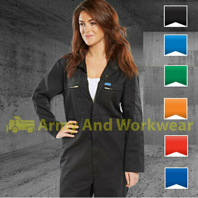 Ladies Zip Front Heavy Weight Super Boilersuit Coverall Overalls Workwear Girls