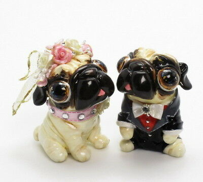 Pug Wedding Cake Topper Handmade Figurine Decor Gifts