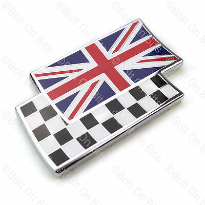 Union Jack Chequered Flag Overlay Badge Metal Enamel Self Adhesive MG ZR ZS ZT