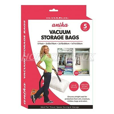 Pack Of 5 Reusable Clothes Storage Vacuum Seal Bag Suction Compressible 90960