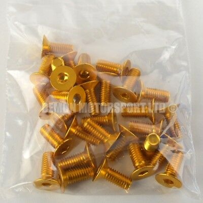 "(30 Pack) M6 x 10mm ""Clearance"" Countersunk Alloy Bolts Anodised Pin (Gold)"
