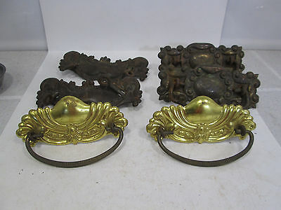 3 Vintage Pairs of Pressed Brass Drawer Pulls for Projects  #314