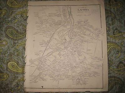 Antique 1892 Laconia The Weirs New Hampshire Map W Land Owners Industry Rare Nr