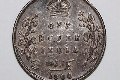 About Uncirculated 1904 India Silver Rupee Coin KM #508 Great Value (INDIA118)