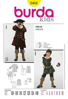 Burda Sewing Pattern Childrens Pirate Outfit Sizes 4 - 10 2452