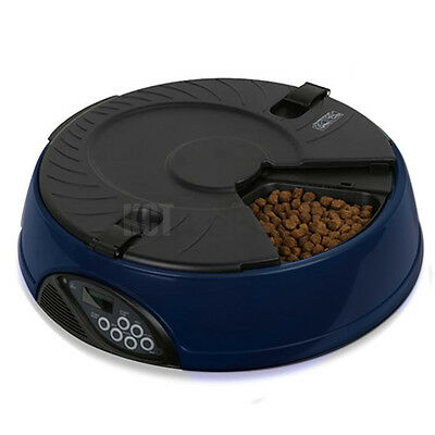 6 Meal / Day Blue Automatic Pet Feeder Dish Cat Dog Bowl Holiday Auto Dispenser