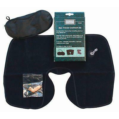 Travel Comfort Kit 3 Piece Set Inflatable Neck Pillow Cushion Ear Plugs Eye Mask