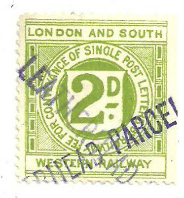 London And South Western 2D Railway Letter Stamp Leatherhead Parcel In Violet