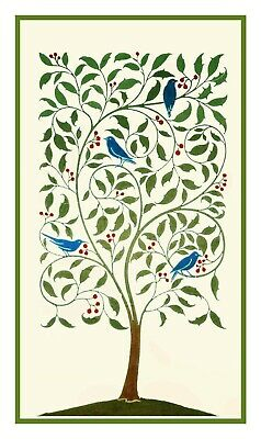 Voysey Birds Holly Tree Arts Crafts Counted Cross Stitch Chart Pattern