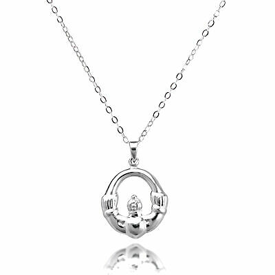Sterling Silver Claddagh Pendant Necklace on Chain Irish Ireland Love Celtic