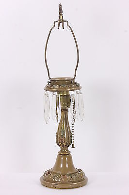 Enameled Brass Art Nouveau Lamp With Crystal Prisms Boudoir Table Pull Chain
