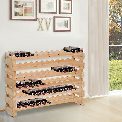 72 Bottle 6 Tier Shelf Wine Rack Holder Standing Holds Storage Fir Wood Cellar