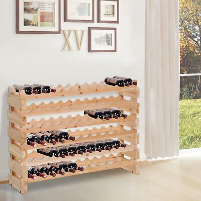 72 Bottle Shelf Wine Rack Holder Standing Holds Storage Fir Wood Cellar Standing