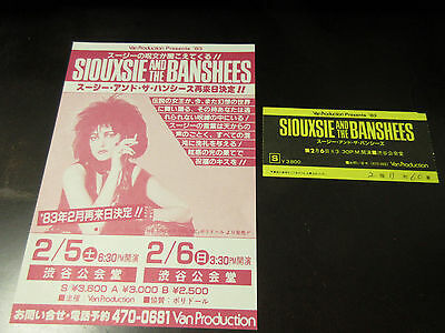 Siouxsie & The Banshees 1983 Japan Tour Flyer with Ticket Stub Cure Robert Smith