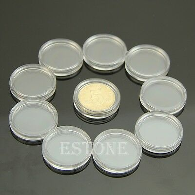 10 PCS Applied Clear Round Cases Coin Storage Capsules Holder Round Plastic 22mm