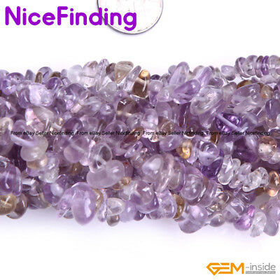 """Natural Stone Chips Beads Jewelry Making Necklace Bacelet Freeform 34""""Ametrine"""