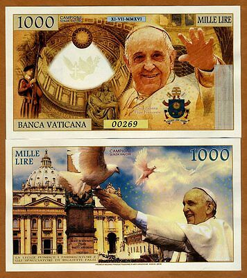 Vatican, 1000 Lire, 2016 Private Issue Kamberra, UNC > Pope Francis