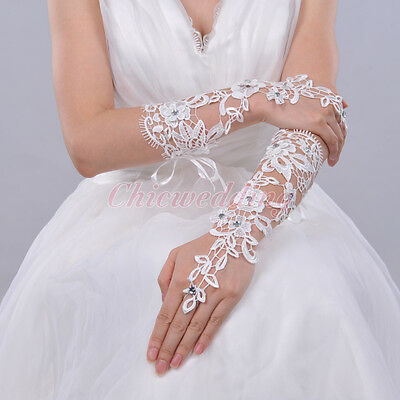 Ivory Lace Fingerless Elbow Length Bridal Gloves with Rhinestones For Party New
