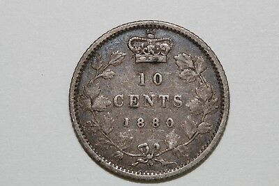 Free Shipping On An 1880 Canada Ten Cent Piece That Grades Very Fine (CA542)